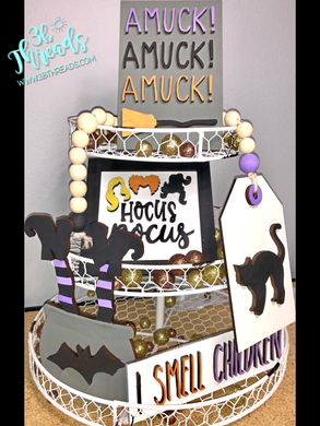3D Hocus Pocus Themed Tiered Tray Set - Finished or Unfinished Available