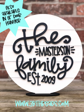 Custom 3D Family Est. Wooden Shiplap Signs - choose colors and customize name/year