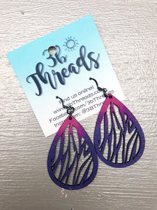 Fuchsia & Cobalt Ombre Zebra Print Laser Cut Wood Earrings