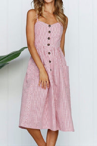 Pink & White Stripe Seersucker Midi Dress with Front Pockets