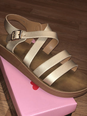 Gold Strappy Sandals - sizes 8 & 11!