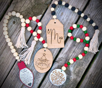 Wine or Bottle Necklace - beaded garland and tag
