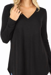 Basic V-Neck Long Sleeve - 4 colors 2X & 3X
