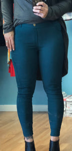 Cotton Blend FULL Length Jeggings - Spruce & Black