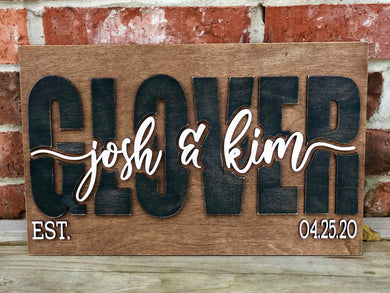 Custom 3D Couple Est. Sign - you choose colors!