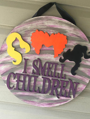 I Smell Children 3D door hanger or shelf sitter - Solid it Multi Color Background