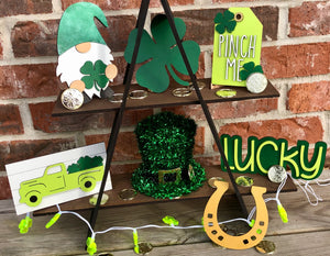 St. Patrick's Day Themed 3D Tiered Tray wooden decoration set