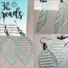 Frosted Sea Green Translucent Laser Cut Earrings - 3 Shapes available