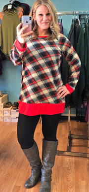 Classic Plaid Tunic Top - Red, Gray, Ivory, Black