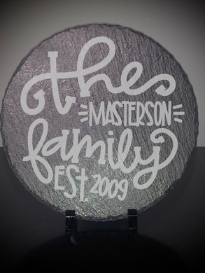 Custom Engraved Family Est. Slate Stone (for display or trivet use)