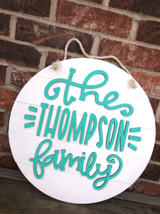 Fully Customizable Family Sign Door Hanger on Faux Shiplap Round - 14, 16 or 18""