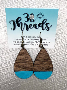 Two tone wooden laser cut wood teardrop earrings - Several Colors available