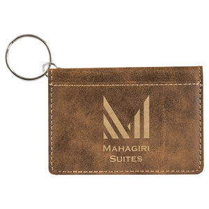 Customized Leatherette ID Holder Keychain - Several Colors Available
