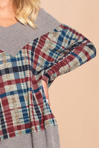 This V-Neck Plaid - soft & lightweight sweater (can be worn on or off shoulder)
