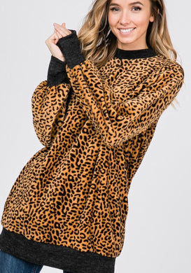 Faux Fur Leopard Sweater/Tunic with POCKETS - 2 colors available