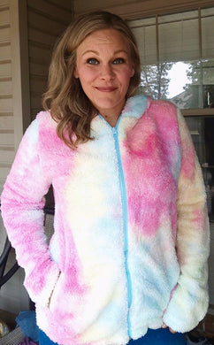 Cotton Candy Rainbow Tie Dye Hoodie Jacket