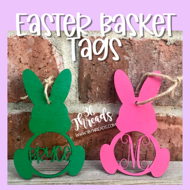 Custom Bunny Easter Basket Tags - You pick Name/Initial and Colors.  1/$6.50 or 2/$10 until 3/6