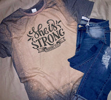 """She is Strong"" Bleached Graphic Tee"