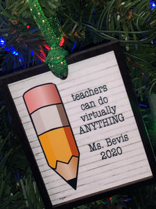 Custom Teacher Ornament with 3D Framed Border