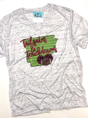 Tailgates and Touchdowns V-Neck Graphic Tee