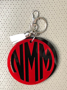 2 Layer Circle Monogram Keychain with Mini Tassel