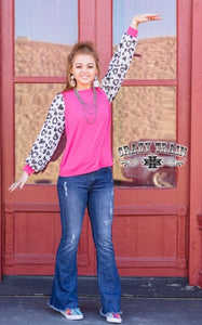 Bright Fucshia Top with Heart/Animal Print Balloon Sleeves