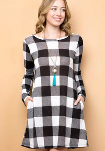 Buffalo Plaid Dress/Tunic with Side Pockets - S & M