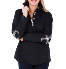 Midweight Quilted Pullover with Black/White Plaid Collar/Elbow patches