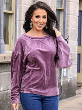 Super Soft Velvet Bubble Sleeve Top - plus size only