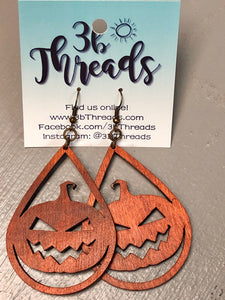 Pumpkin Laser Cut Lightweight Wood Earrings - 2 colors available