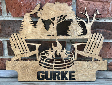 Custom Outdoor Paradise Fire Pit - Camper or Campsite - Sign