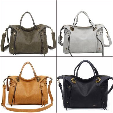 Soft Vegan Leather satchel - 4 colors