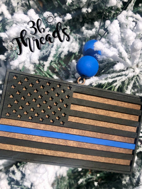 3D Thin Blue (or Red or Yellow) line ornament - can add engraved message to the back, too!