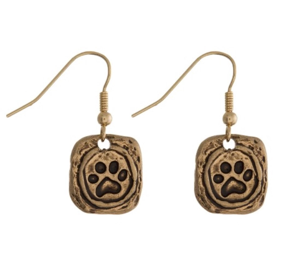 Paw Print Earrings - Gold & Silver