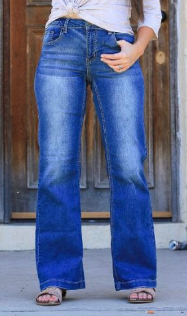 L&B Wide Leg Jeans with Unhemmed Seam