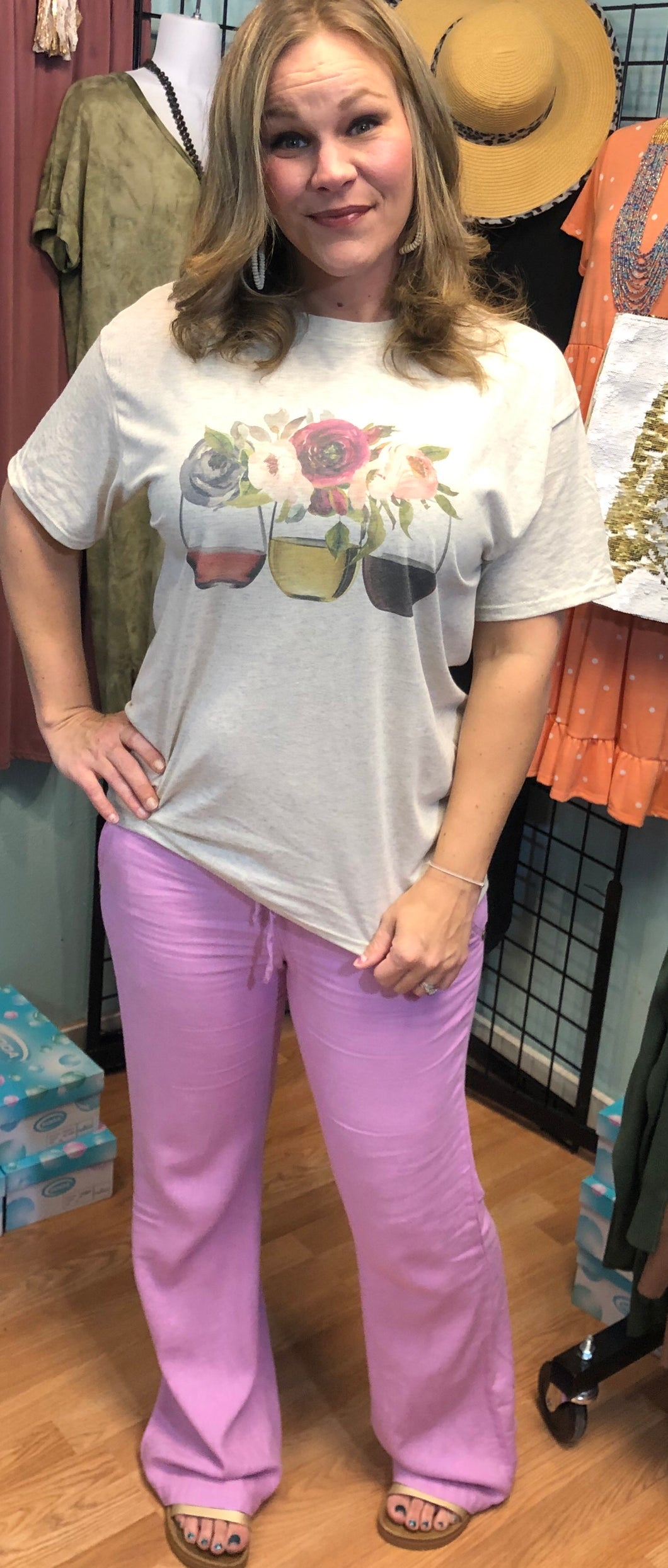 Linen Pants - S & M black and lilac