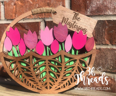Tulip Basket - Paint it Your Way COMPLETE kit OR Blank Wood Cutout ONLY