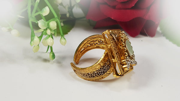 Square Ladies Ring - Kundan
