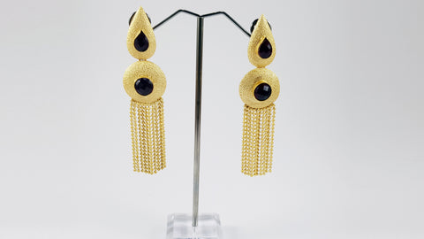 Kundan Earrings - Maroon Stones