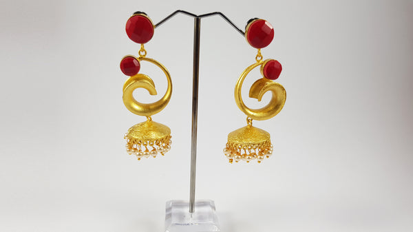 Red Jhumki Earrings