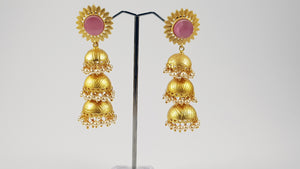 Pink Jhumki Earrings Long