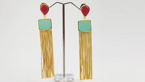 Party Earrings with Color Stones