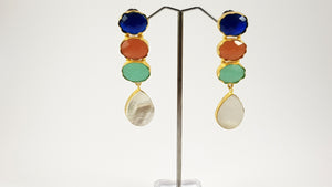 Multi Color Stones Traditional Earrings