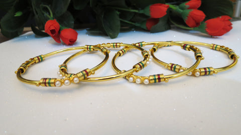Kundan Bangles With Pearls