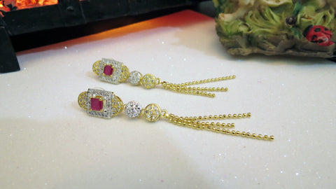 Earings with Ruby and Zircon