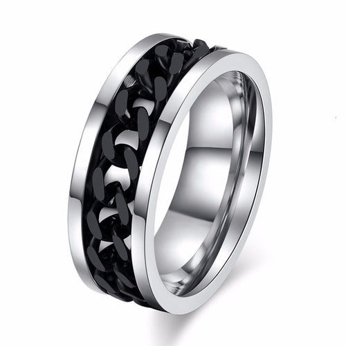 🌟 Men's Cool Black Chain Ring. Stainless Steel & Rotatable Links..