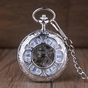 ☀ Symon's Classic Silver, Double Sided Hand Wind, Pocket Watch With Roman Numerals & Chain
