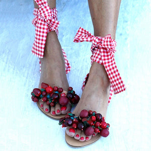 Handmade Beaded Sandal With Accented Ankle Straps. A True Must Have!