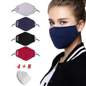 A Great Buy! 4Pc Reusable & Washable Cotton Face Mask With 8 FDA Approved Filters..