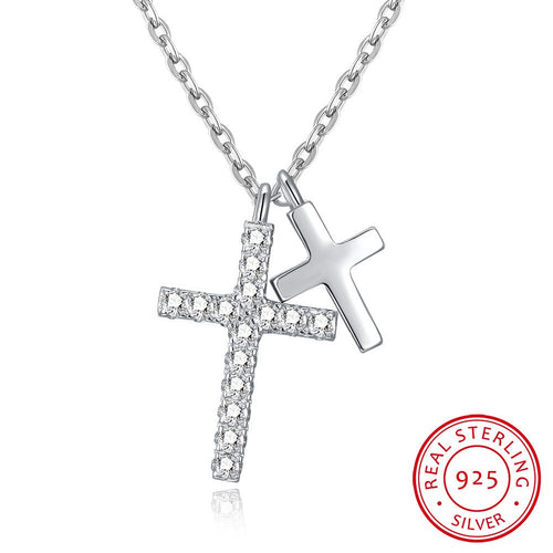 S925 Silver Necklace Double Size Cross Necklace Fashion Necklace